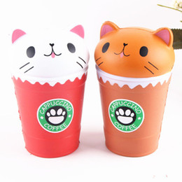 Wholesale movie cups - HOT 14cm Squishy Jumbo Cat Coffee Cup Squishies Cute Animal Slow Rising Decompression Toys Children Toy Gifts STY040