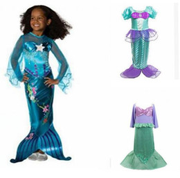 Wholesale 4t Girls Costume - Girls Mermaid Dresses with Pearl Children Halloween Little Mermaid Ariel Cosplay Costumes for Kids Carnival Party Dress Children Clothing