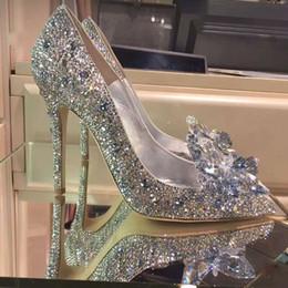 Argentina Moda dedo del pie acentuado cenicienta tacones altos vestido dulce stilettos señora fiesta de la tarde mujeres bombas Bling Rhinestone zapatos de boda Suministro