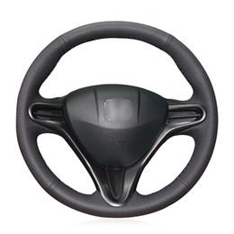 Couro genuíno honda on-line-Mewant Handsewing preto couro genuíno cobertura de volante Wrap para Honda Civic 8 Civic 2006 2007 2008 2009 2010 2011 (3 raios)