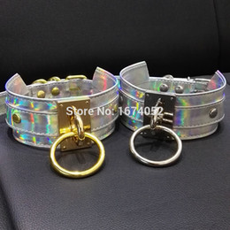 Wholesale metal slave collars - whole salePunk Gothic 100% Handcrafted Chic Holographic Choker O Round Silver Gold Metal Laser Collar BDSM Sub Slave Necklace