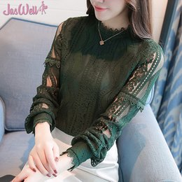2fa375eb1 JasWell 2018 New Arrival Women Stand collor Tops Fashion Lace Blouse Autumn  Long Sleeve Shirts Hollow Out Renda Blusas Femininas discount blusas renda