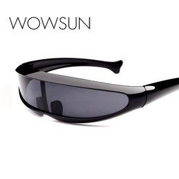 Wholesale Fishing Sunglasses - WOWSUN New Fashion Brand Designer Oversized Sunglasses Siamese Films Eyewear Colorful Fish Frame Oculos de sol UV400 A372