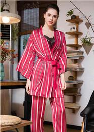 Pyjama à rayures 4 pièces ensemble neige robe de nuit en soie de soie soie robe de nuit robe courte pantalon long camisole femmes automne chemise de nuit cadeau pour filles vêtements pour la maison ? partir de fabricateur