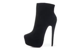 Canada Talons hauts en daim noir avec fermeture à glissière de marque de luxe rouge de la taille 35-41 femmes, dames nouvelle mode chaussures d'hiver de plate-forme supplier eva b platform Offre