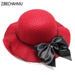 2019 spitze netz gesicht Mode Vingate Elegante feste Wolle Blumen Fedoras Hüte Für Wonmen Fedoras Mädchen Hüte für Frauen Hochzeit Markenkleid Zubehör