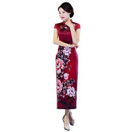 Argentina Shanghai Story 2018 recién llegado de manga corta de las mujeres verdes floral Qipao Faux seda Cheongsam vestido largo chino oriental vestido Suministro