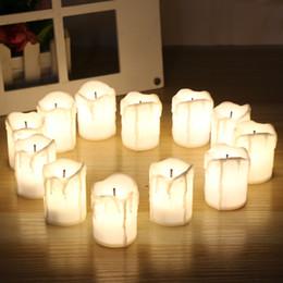 Timer halloween online-12 pz / set Candele LED di Halloween Senza fiamma Timer candelabri a lume di candela Elettrico Luci Tagliere tremolante per matrimonio Compleanno
