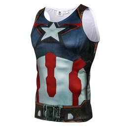 Wholesale usa personalities - 2018 Marvel Hero Captain USA Creative Personality 3D Printing Sleeveless Running Vests Men's Fitness Compression Vest Tank Tops