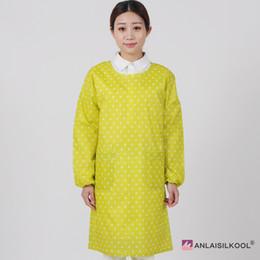 Vestiti coreani di lavoro per le donne online-Grembiule da lavoro impermeabile coreano Punti trasparenti Vestiti per adulti Grembiuli a maniche lunghe Donna Cucina Accessori per la pulizia della casa Delantal