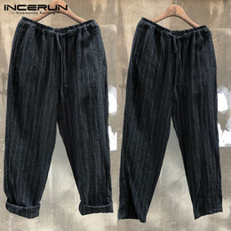 88c9fac6ee2 INCERUN 2018 Mens Casual Harem Pants Hiphop Striped Pockets Straight Pants  Wide Legs Trousers Loose Joggers mens wide leg trousers on sale