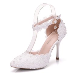 Wholesale White Prom Shoes Beading - Platform formal dress shoes prom banquet women shoes white Pearls Lace pump shoes high heel pointed toe