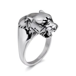 make stainless steel 2018 - Chroonary Leopard head shaped fashion ring made of stainless steel in gray color for both man and women Beauty and jewelry