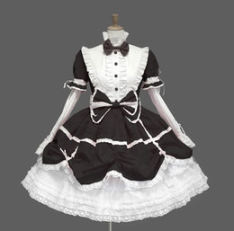 Wholesale Gothic Lolita Blue Dress - Black pink blue Cotton lolita cosplay dress court retro gothic coslpay dress Puffy sleeves dress with Bowknot
