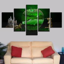 Canada Toile Peintures Mur Art Décor À La Maison HD Imprime 5 Pièces Fantasy Apple Vert Animaux Images Tortues Souris Affiche Modulaire Encadrée cheap apple paintings canvas Offre