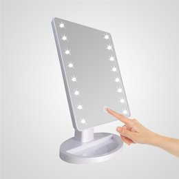 Wholesale Desktop Cosmetic Mirrors - LED Make Up Mirror Cosmetic Desktop Portable Compact 16 22 LED lights Lighted Travel Makeup Mirror for women Black White pink