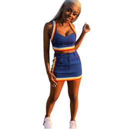 abiti blu skirt Sconti Two Piece Set 2018 Summer crop top da donna e minigonne Set da 2 pezzi Blue Denim outfit Set da 2 pezzi coordinati da donna