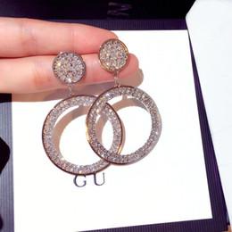 2019 moda brincos de diamante hoop Luxo Diamante Brincos Moda Rhinestone Hoop Candelabro Stud Dia Dos Namorados Presente S925 Brinco de Prata Para A Menina moda brincos de diamante hoop barato