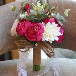 Wholesale Chinese Wedding Bouquets - Spring Silk Artificial Flowers Bridal Bouquets Home Decoration Peony Wedding Supplier Bouquet Cheap Sale 2018