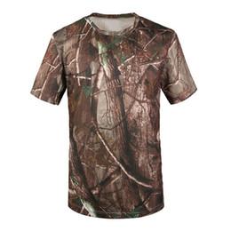 2018 neue Outdoor Jagd T-shirt Männer Atmungsarmee Taktische Kampf T Shirt Trocken Sport Camo Camp Tees-Baum camouflage von Fabrikanten