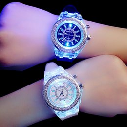 Wholesale geneva watch women white gold - Women Luminous color LED watch fashion trend male and girl students couple jelly Geneva Transparent Rhinestone Silicone child watches gift