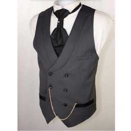 double breasted blue suits for wedding Promo Codes - Custom Made Dark Gray Men Suit Vests Slim Fit Formal Waistcoat For Man Wedding Prom Vest double-breasted