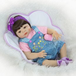 "Wholesale Real Full Silicone Dolls - 22"" full body Silicone reborn baby girl dolls reborn fake babies dolls for children gift real bebe alive"