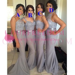 Wholesale Grey Mermaid Prom Dresses - Grey Convertible Bridesmaid Dresses 2018 Sexy Mixed Styles Lace Chiffon Dresses For Maid of Honor Custom Made Evening Gowns Long Prom Dress