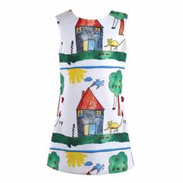 Niños de graffiti online-Vestido de las muchachas del bebé de la Navidad 2015 vestido de la princesa para niñas ropa Graffiti patrón diseñador niños vestidos ropa de los niños