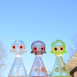 Wholesale Glass Fluorescence - Fluorescence Skull Rig with frit showerhead perc 14.5mm joint