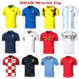 Wholesale Home Wearing - Wholesale 2018 World Cup Soccer Jerseys Home away Argentina Spain Uruguay Belgium Russia Mexico Sweden Brazil Coutinho soccer wear t shirt
