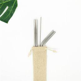Sacos limpos on-line-Palha De Metal reutilizável Conjunto De Palha De Aço Inoxidável Conjunto com Escova De Limpeza Saco De Linho De Embalagem 4 + 1 Livre Combinação