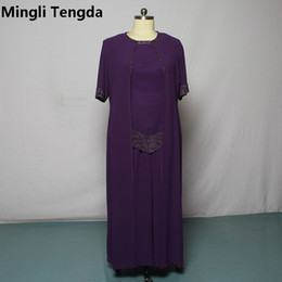 2019 madre púrpura traje púrpura venta al por mayor vestidos de la madre de la novia cintura elástica pantalones mujeres vestido púrpura hechos a mano rebordear trajes de la madre del novio más el tamaño madre púrpura traje púrpura baratos