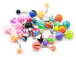 Wholesale Curved Piercing - Stainless Steel Belly Button Ring Navel Piercing Bar Body Jewelry Curved Barbell with Acrylic Pattern Ball belly ring