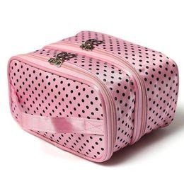 2020 embalagem por atacado para sacos de cosméticos Atacado-Fahion Dupla camada de pequenos pontos saco cosmético ferramenta de maquiagem pacote de armazenamento multifuncional pacote de armazenamento desconto embalagem por atacado para sacos de cosméticos