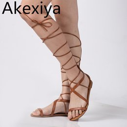 a0b143452 Akexiya Plus Size 5-10 Fashion Gladiator Sandals Women Sexy Cutout Knee High  Sandalias Summer Style Casual Flip Flops Shoes