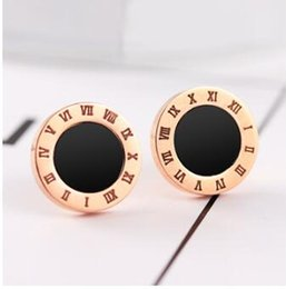Wholesale Gold Does Fade - Rose gold Roman digital four-leaf clover stud earrings titanium steel does not fade lasting color studs allergy free studs three styles