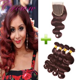 Wholesale Cheap Red Human Hair Extensions - Long Body Wave 99j Brazilian Human Hair 4 Bundles With 4x4 Lace Frontal Cheap Price Dark Red Hair Extensions