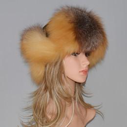 Sombrero de piel de bricolaje para las mujeres Piel de zorro natural  Sombreros rusos Ushanka Invierno Grueso Orejas cálidas Moda Bombardero Cap  real Negro ... 194f014535b