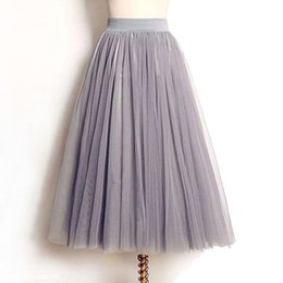 c8e6365d30e Wholesale- 4 Layers Tulle Skirts Women Summer Elastic High Waist Ladies long  mesh Skirt Womens Tutu Maxi Pleated Skirt midi Faldas Saias