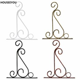 Wholesale Wholesale Iron Flower Stand - Wholesale-4 Colors Wrought Iron Art Hooks Hanging Plant Stand Flower Pot Hooks Holder Classic Romantic Landscaping Bathroom Garden Decor