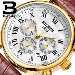 Wholesale Binger Men Watch - Authentic Switzerland BINGER Brand Men automatic mechanical self-wind sapphire gold watch waterproof leather strap table