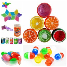 Wholesale fruit jellies - Fruit Crystal Mud Crystal DIY Transparent Clay Jelly Mud 6*6cm Plasticine Mud Playdough Rubber Muds Gifts For Kids OOA5128