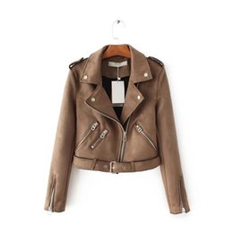 Wholesale Genuine Suede Jacket - Wholesale- 2017 Top Brand S-XL New Spring Fashion Bright Colors Suede Jacket Ladies Basic Street Women Short PU Leather Jacket
