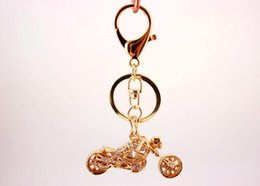bolsa de ouro de 18k Desconto Tone de ouro Crânio Da Motocicleta Chaveiro-Rhinestone Rider Chaveiro Titular Anel de Carro de Luxo Dos Homens Chaveiros Mulheres Bolsa Saco Charme
