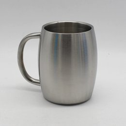 Wholesale Pp Handle - Stainless Steel Beer Cup 500ML Outdoor Camping Coffee Beer Cup Double Layer Mug With Handle 10pcs OOA4576