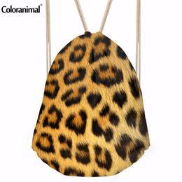 Kinderrucksäcke leoparddruck online-Coloranimal Nette 3D Tiger Footprints Leopard Print Kordelzug für Kinder Damen String Taschen Männer Reisen Schulter Rucksäcke