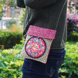 handy chinesisch mini Rabatt Chinesische Stickereiblumenfrauen der nationalen Art bauschen Leinen gewebten kleinen Kurierbeutel neue Minischulterhandytasche