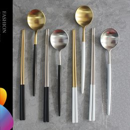 Wholesale Reusable Chopsticks - 2set 304 Stainless Steel Korean Spoon Sushi Metal Chopsticks Reusable Square Chop Stick Long Handle Scoop Portable Tableware Set