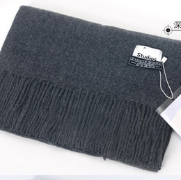 Wholesale Large Wool Pashmina - New Large Lady Pure Color First Cut Wool Scarf Sheepskin Plain Colored Men's Cape Autumn Winter Cloak High Quality Monochrome Winter Thicken